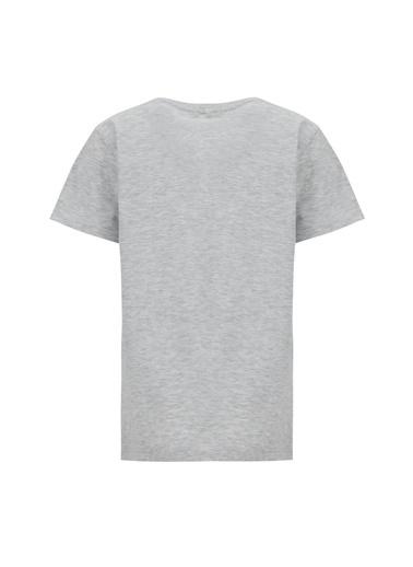 DeFacto Erkek Çocuk Slogan Baskılı Kısa Kol Tişört Gri